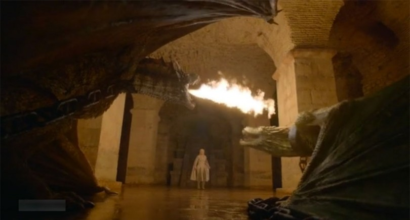 Salle souterraine de la grande pyramide de Meereen, où Daenery Targaryen enferme ses jeunes dragons - tournage de Game of Thrones